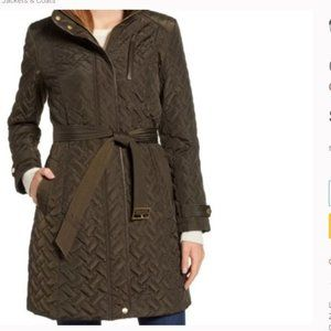 Cole Haan Olive/Brown Quilted Long Coat/Jacket/Trench Sz XL